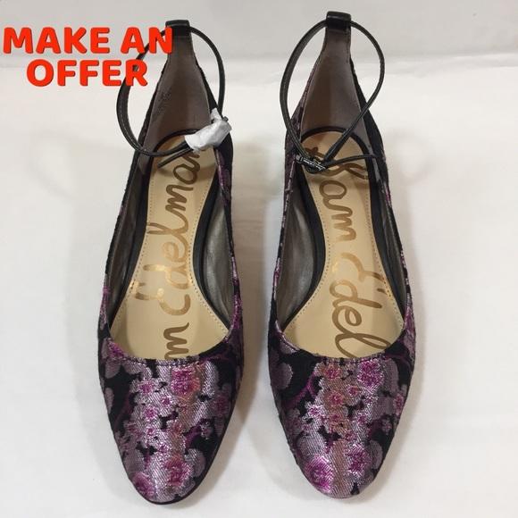 9ab1c9e9e4aa4 SAM EDELMAN Lola Floral Pumps Ankle Strap Size 6